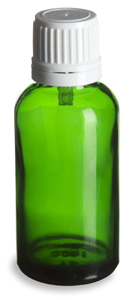 1 oz Green Glass Eurodopper Bottle with Lid