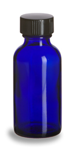 1 Oz. Cobalt Glass Bottle With Black Cap - Click Image to Close